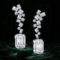 GODKI Модный Роскошный Геометрическая CZ Кубический циркон кисточкой мотаться серьги для женщин Свадебные Длинные серьги pendientes Mujer Moda 2020