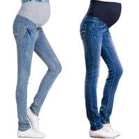 Maternidad Bottoms Denim Largo para mujeres embarazadas Ropa Embarazo Algodón + Ropa de mezclilla Vientre corto Pantalones jeans Pantalones altos Cintura