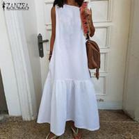 2020 ZANZEA рябить платье макси для женщин Летний Сарафан Кафтан рукавов мундир Vestidos Женский Повседневный O шеи Пляж Robe Крупногабаритные