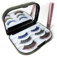 Magnéticos líquido Eyeliner cílios postiços coloridos magnéticos Definir longa impermeável duradoura Eyeliner pestana Extensão