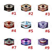 Máscara Funny Face Halloween Crânio do palhaço Imprimir Máscaras crianças Adutls cara contra pó Anti-fog Máscara Facial com 2pcs filtro lavável Masks120pcsT1I2441