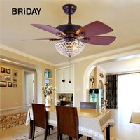 36 Inch retro fan LED Fans Light Living Room Restaurant Cafe Bedroom Crystal Decorative ceiling fan with lights remote control
