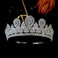 Baroque luxury crystal big drop bridal tiara crown beauty pageant crown headband wedding hair accessories non-fading jewelry