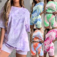 Kadın Tracksuits Kısa Kollu Tees Şort Suits Pantolonlar Batik Ev Suits Giyim Dişiler Rahat Setleri Gevşek tişört 2 adet F050 Tops