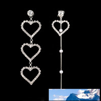 Heart- shaped Asymmetry Diamond Pearl Woman Earrings Woman Je...