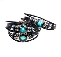 Charme Bracelets States Rétro Multi-Couche 12 Douze Constellation Bracelet DIY Punk Couple Couple Bijoux en cuir