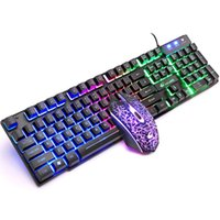 Tastiera Mouse Combos Ziyou Lang USB Set Meccanico Sensazione arcobaleno Retroilluminazione arcobaleno per PC Laptop Desistente Desktop Gaming