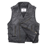 Mens Preto Vintage Homens Oblique Zipper Biker Leather Vest Genuine couro Slim Fit Curto jaquetas de couro da motocicleta sem mangas