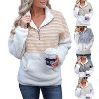 Plus Size Womens Sherpa lã com capuz Meio listrado Zipper Plush Furry Pullover Camisolas Moda Blusas Outwear Inverno Quente Tops D91711