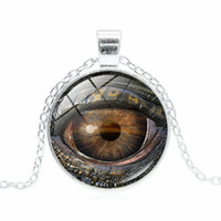 Dragon Eye Time Edelstein Halskette Silber Bronze Glas Cabochon Anhänger Halsketten Für Frauen Männer Modeschmuck