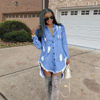 Tasarımcı Elbiseler Kadınlar Hiphop Denim Blue Jean Gömlek Elbise İlkbahar Sonbahar Jeans Püskül Ripped