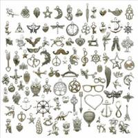 Tibetano Argento Cinturino Accessorie 100pcs Lotto Bulk Stili Mix Multi disegno degli accessori dei monili di fascini DIY dei risultati dell'orecchino in Vendita
