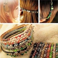 أزياء البوهيمي نمط النساء كريستال متعدد الألوان أسلاك الذهب رئيس هوب دبوس الشعر العصابة الشعر كليب اكسسوارات للبنات اكسسوارات للشعر A0252