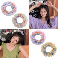 lindo anillo de pelo dulce encantador de impresión arco iris doble grande anillo elástico delgado Toca Bobble Hairband mujeres de la muchacha de pelo titular cuerda D9311
