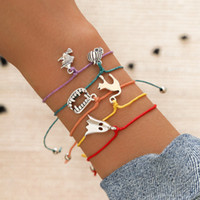 5Pcs Set Pumpkin Cat Ghost Witch Pendant Woven Bracelet Adju...
