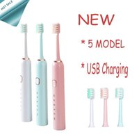 Smart Electric Toothbrush Intelligent Automatic Adult 5 Modes Tooth Brush USB Charging Waterproof Heads Set