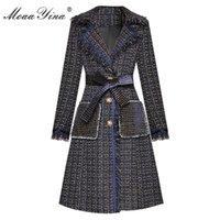MoaaYina Moda Tasarımcısı Yünlü kumaş WINDBREAKER Palto Sonbahar Kadınlar Püskül Uzun kollu Ekose Palto Tek göğsü