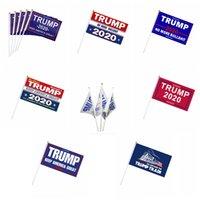 14 * 21CM ترامب البوليستر أعلام لافتات 2020 أعلام حملة الرئاسة الأمريكية إبقاء أمريكا العظمى الصغيرة اليد الملونة لافتات VT1672