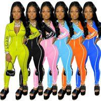 Großhandel Frauen Jumpsuits Strampler Mode Body Brief Druck Onesies Reißverschluss Stehkragen Linie Nähen Schlank Einteiler Damen Kleidung