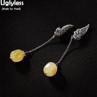 Uglyless Luxo Natural brincos de âmbar por Mulheres Natural Yellow Gemstone Fine Jewelry Sólido 925 tailandês Silver Leaf brincos ocos