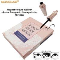 3pair 5 Magnetic Eyelashes 3D Faux mink Eyelashes Magnet Lashes Magnetic Liquid Eyeliner&Magnetic False & Tweezer Set