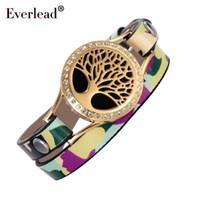 Everlead árbol de la vida del abrigo del cuero pulseras de color camuflaje chapado en oro de aceites esenciales difusor Vida sana Medallones pulsera
