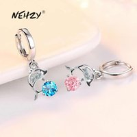 Nehzy 925 Sterling Silver Nya Kvinnors Mode Smycken Örhängen Blå Kristall Rosa Zircon Dolphin Long Tassel Retro Örhängen