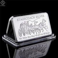Northwest Territoriale Menta 999 Fine Stagecoach Artigianato Argento Argento Drivisvole Bar Coin Metallo Metallo Artigianato Regali Replica 50 x 28mm 1oz argento Distintivo