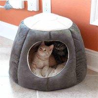 لينة طوي القط هريرة البيت الدافئة لينة الشتاء القطن كلب القط السرير بيت الكلب خيمة مريحة عش للكلاب الصغيرة