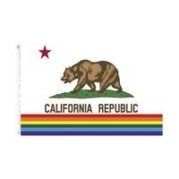 orgullo de California Bandera del arco iris envío gratis bandera LGBT directos de fábrica 90 * 150 para cubierta decoración colgante al aire libre