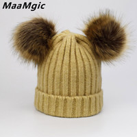 비니 / 두개골 모자 여성 따뜻한 겨울 양모 코 튼 모자 여자 두 개의 가짜 모피 Pompom 모자 레이디의 패션 Gorro Beanies Skullies 도매 선물