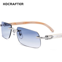 HDCRAFTER Natural Horns Temple Glasses Frame Men Women Rimle...