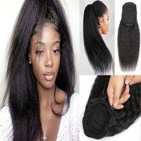 Indien cheveux humains Afro Ponytail Ponytail de couleur à cordonnet noir naturel crépus bouclés crépus pince droit dans les extensions de cheveux pour les femmes