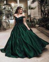 Robes de fête Formelle Soirée vert foncé Soirée longue de la dentelle épaule Applique des robes de bal perlées paillettes usure