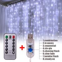 3 m x 3 m 300-led wit licht romantische kerst bruiloft outdoor decoratie gordijn string lichte Amerikaanse standaard warm wit ZA000929