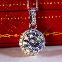 Bröllopsförlovning Sterling Silver 2ct Moissanite Diamond Necklace Pendant Silver Chain Women Present D Hip Hop Pass Diamond Pen Test