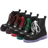 Multi Color épais Sole à lacets Bottes bout rond rétro Plateau plat talon haut court Motorcycle Boot Femmes Chaussures en cuir véritable