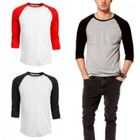 Solid Color Tshirt Men Tops Tees 20ss Men O Neck Tshirt Casual 3 4 Sleeve