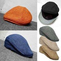 مضاعفة ارتداء نمط الرجال القبعات القبعات البريطانية النمط الغربي اللبلاب كاب كلاسيك خمر المرأة القطن والكتان القبعات BLM211
