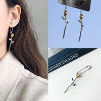 Stud Javrick Gothic Steel Pin de seguridad Pendientes largos Ear Threader Fashion Jewelry