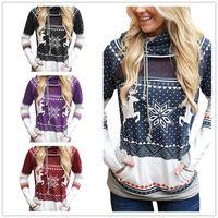 Tasarımcılar Triko Noel Elk kar tanesi Baskılı Kadınlar Kapşonlu Cep Spor Sonbahar Tişörtü D9305 ile Kapüşonlular Kazak tişört Tops