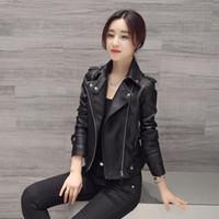 여성 가짜 가죽 자켓 슬림 긴 소매 가짜 PU 지퍼 여성 코트 레이디 섹시한 검은 오토바이 자켓 겉옷