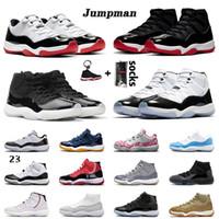retro 11 11s bred concord homens novos da chegada tênis de basquete cetim branco Concord High 45 25o mulheres formadores sapatos de desporto