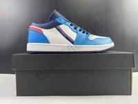 2020 OG 1 1S منخفضة البيضاء كرة السلة الحمراء أحذية تزلج الزرقاء مع إضافة ثلاثي اللون أشرطة أزياء الرجال مريح مدرب حذاء رياضة CV4892-100