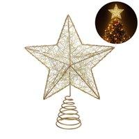 NICEXMAS Weihnachtsbaum LED-Stern-Baum-Deckel Batteriebetriebene Treetop Dekoration (Gold)