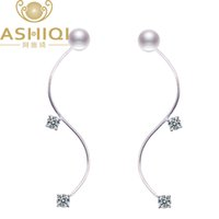 Damızlık Ashiqi 925 Ayar Gümüş Küpe Kadınlar Için Doğal Tatlısu Inci Küpe Fashoion Takı