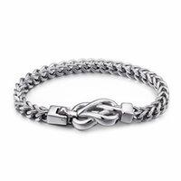 Bağlantı, Zincir Çin Infinity Düğüm Charm Bilezikler Erkekler için 21.5 cm Paslanmaz Çelik Bağlantı Bilek Bilezik Takı Aksesuar