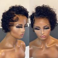 13x4 Ombre Pixie Kesim Peruk Renkli Dantel Ön İnsan Saç Peruk Precicked Kısa Kıvırcık Bob 180% Brezilyalı Remy Bal Sarışın Peruk