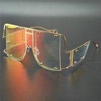 نظارات شمسية 2021 المتضخم سكوير المرأة الفاخرة شقة أعلى قطعة واحدة الرجال نظارات الشمس خمر بدون شفة الظل مرآة uv400 fml