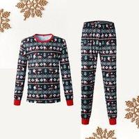 부모 - 자식 의류 따뜻한 크리스마스 인쇄 홈 파티 가족의 날 착용 잠옷 투피스 아빠 설정 높은 품질면 혼방